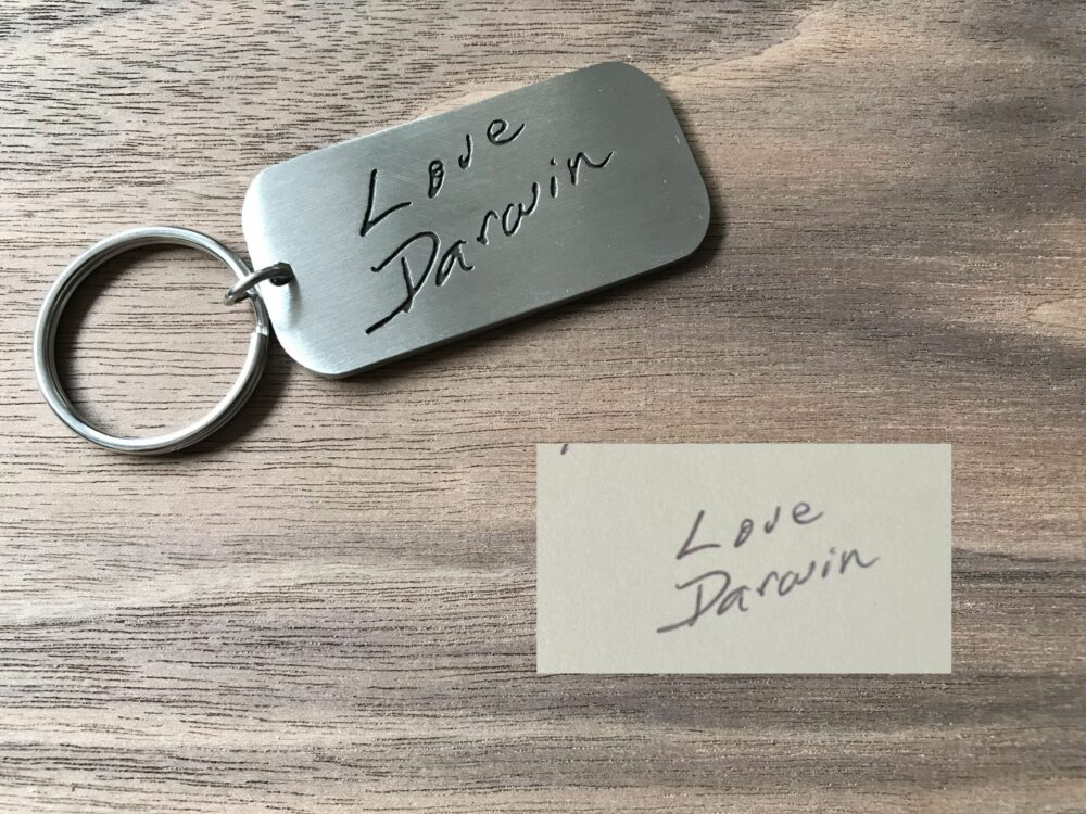 actual handwriting keychains