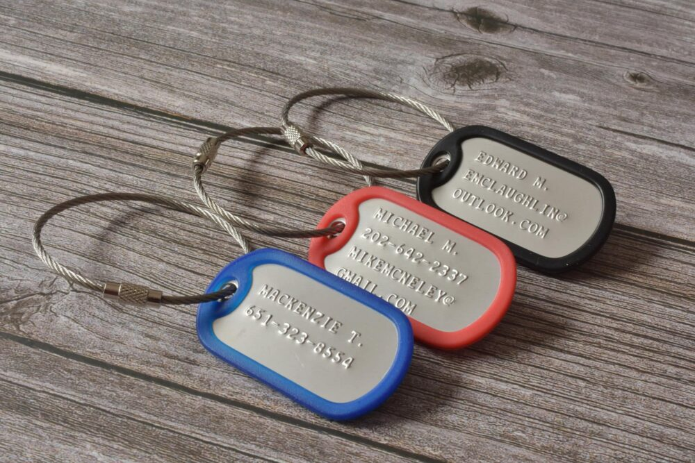 Personalized stamped luggage tags FM 239-10